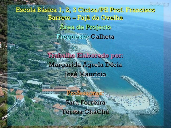 Escola Básica 1, 2, 3 Ciclos/PE Prof. Francisco Barreto – Fajã da Ovelha Área de Projecto Freguesia:  Calheta Trabalho Ela...