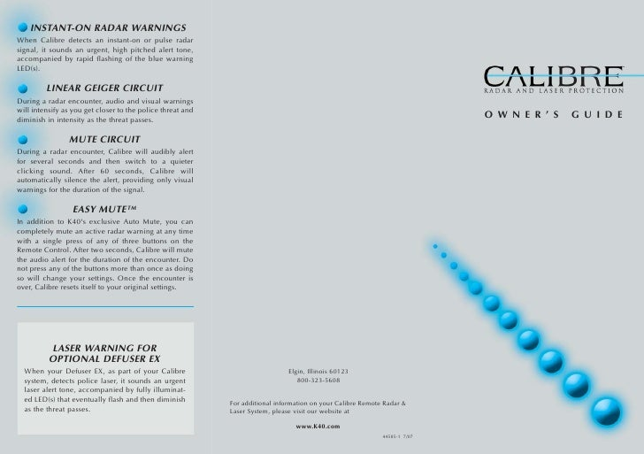 Calibre Owners Guide