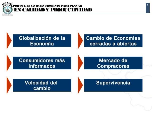 1POR QUE ES UN BUEN MOMENTO PARA PENSAREN CALIDAD Y PRODUCTIVIDAD   Globalización de la                   Cambio de Econom...