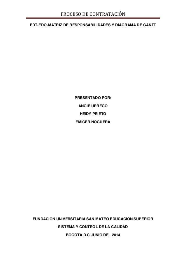 PROCESO DE CONTRATACIÓN EDT-EDO-MATRIZ DE RESPONSABILIDADES Y DIAGRAMA DE GANTT PRESENTADO POR: ANGIE URREGO HEIDY PRIETO ...