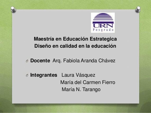 Maestría en Educación Estrategica Diseño en calidad en la educación O Docente Arq. Fabiola Aranda Chávez O Integrantes Lau...