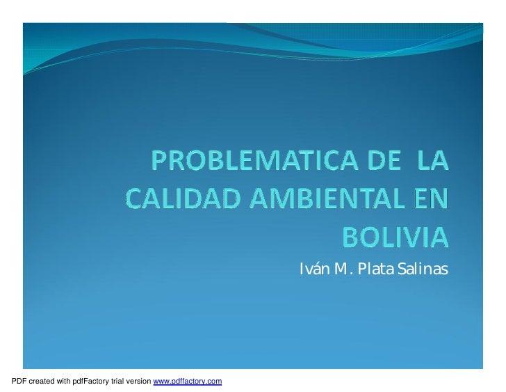 Calidad Ambiental Bolivia