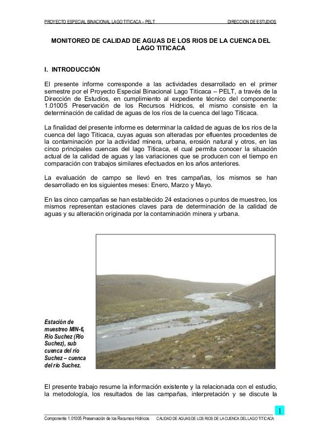 Calidad de aguas de los ríos de la cuenca del lago titicaca