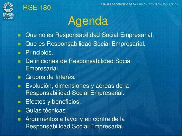 RSE 180                  Agenda   Que no es Responsabilidad Social Empresarial.   Que es Responsabilidad Social Empresar...