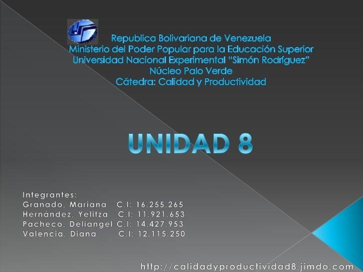 Calidad y Productividad_Diapositivas_Grupo 8