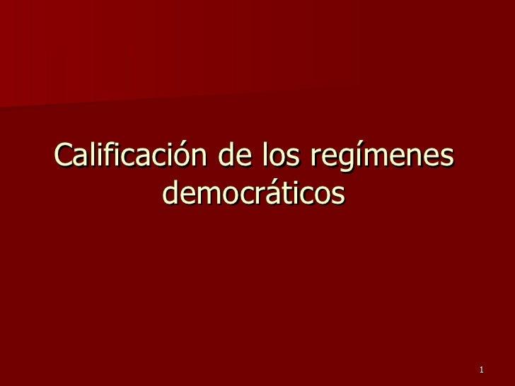 Calificación de los regímenes democráticos