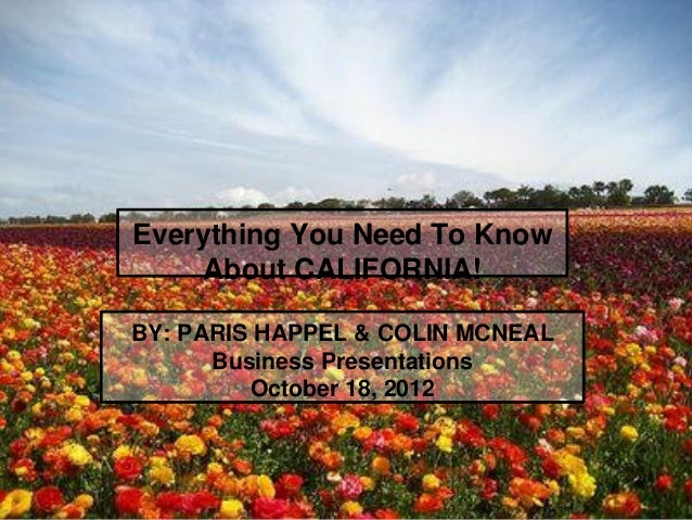 Everything You Need To Know    About CALIFORNIA!BY: PARIS HAPPELl & COLIN MCNEAL      Business Presentations         Octob...