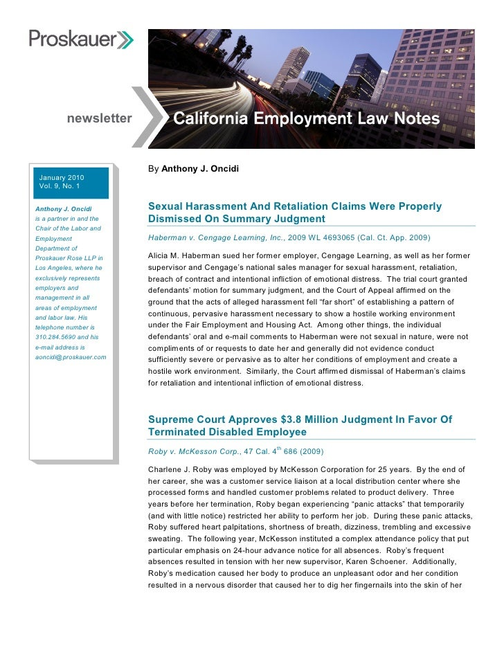 California Employment Law Notes January 2010
