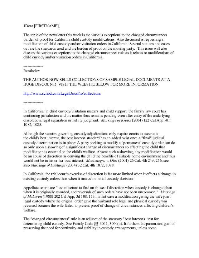 Custody Agreement Letter sample declaration letter for child ...