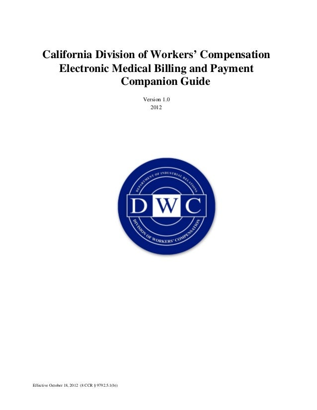 California division of workers' compensation electronic medical billing and payment companion guide