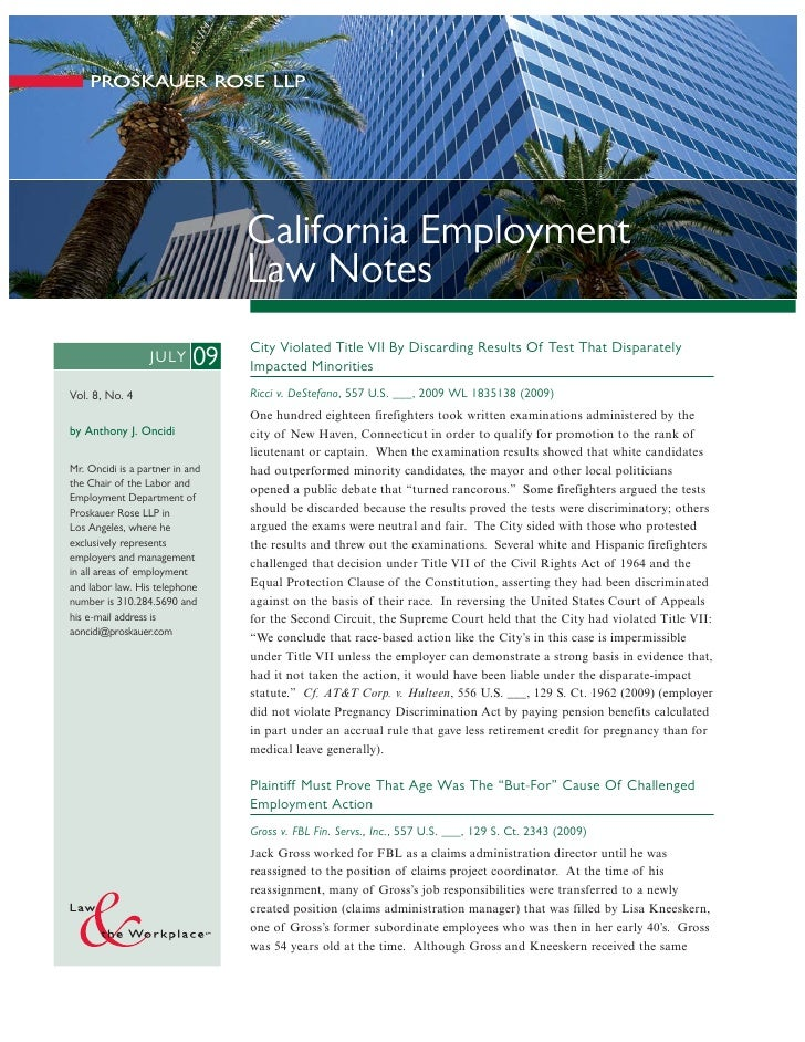 California Employment Law Notes (July 2009)