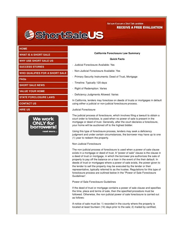 California Foreclosure Law Summary