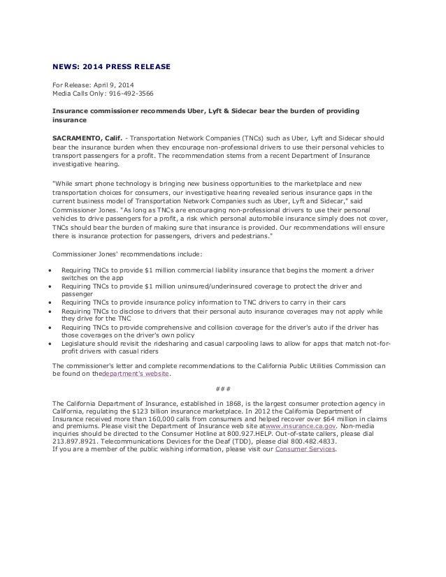 State insurance agency ridesharing warnings: California insurance release