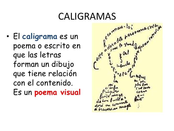 CALIGRAMAS• El caligrama es un  poema o escrito en  que las letras  forman un dibujo  que tiene relación  con el contenido...