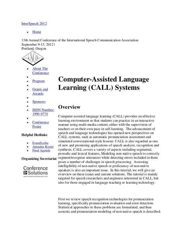 CALL (computer Assisted Language)