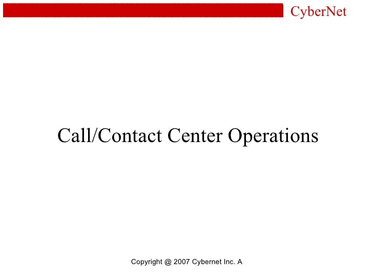 Call/Contact Center Operations CyberNet
