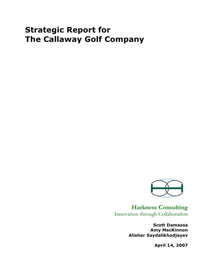 Callaway golf company case analysis essays