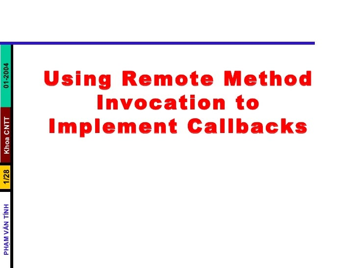 Using Remote Method Invocation to Implement Callbacks