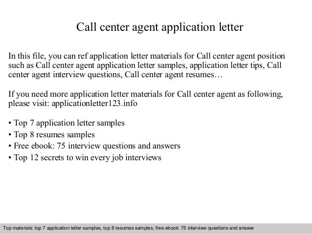 Call center agent application letter for Cover letter sample for call center agents