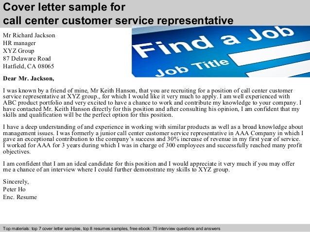 Call center customer service representative cover letter
