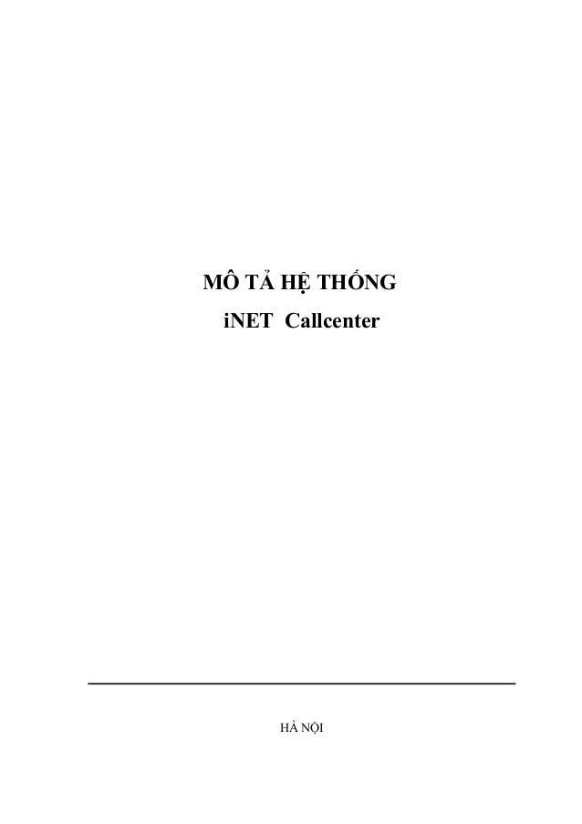 MÔ TẢ HỆ THỐNG iNET Callcenter HÀ NỘI