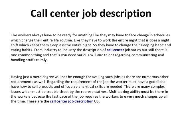 inbound call center job description