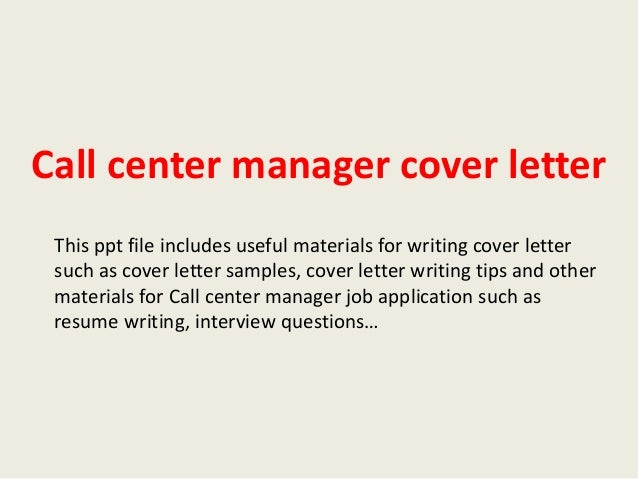 cover letter for call center manager position