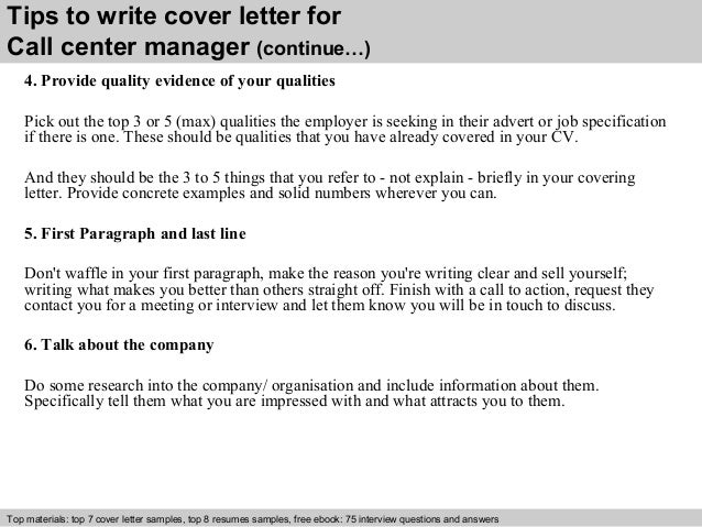 Call center manager cover letter