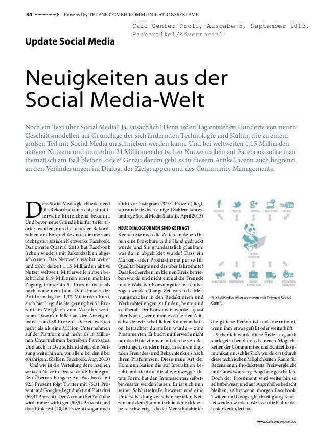 34  Powered by TeleneT GmbH KommuniKaTionssysTeme  Call Center Profi, Ausgabe 5, September 2013, Fachartikel/Advertorial  ...