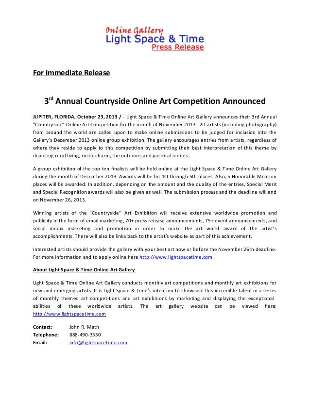 For Immediate Release  3rd Annual Countryside Online Art Competition Announced JUPITER, FLORIDA, October 23, 2013 / - Ligh...