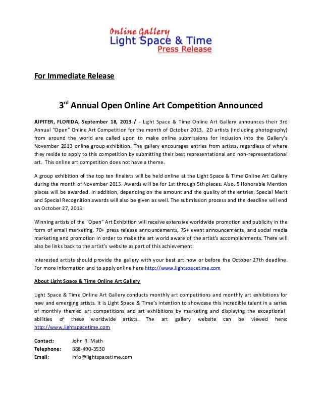 For Immediate Release 3rd Annual Open Online Art Competition Announced JUPITER, FLORIDA, September 18, 2013 / - Light Spac...