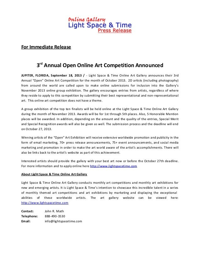3rd Annual Open Online Art Competition Announced