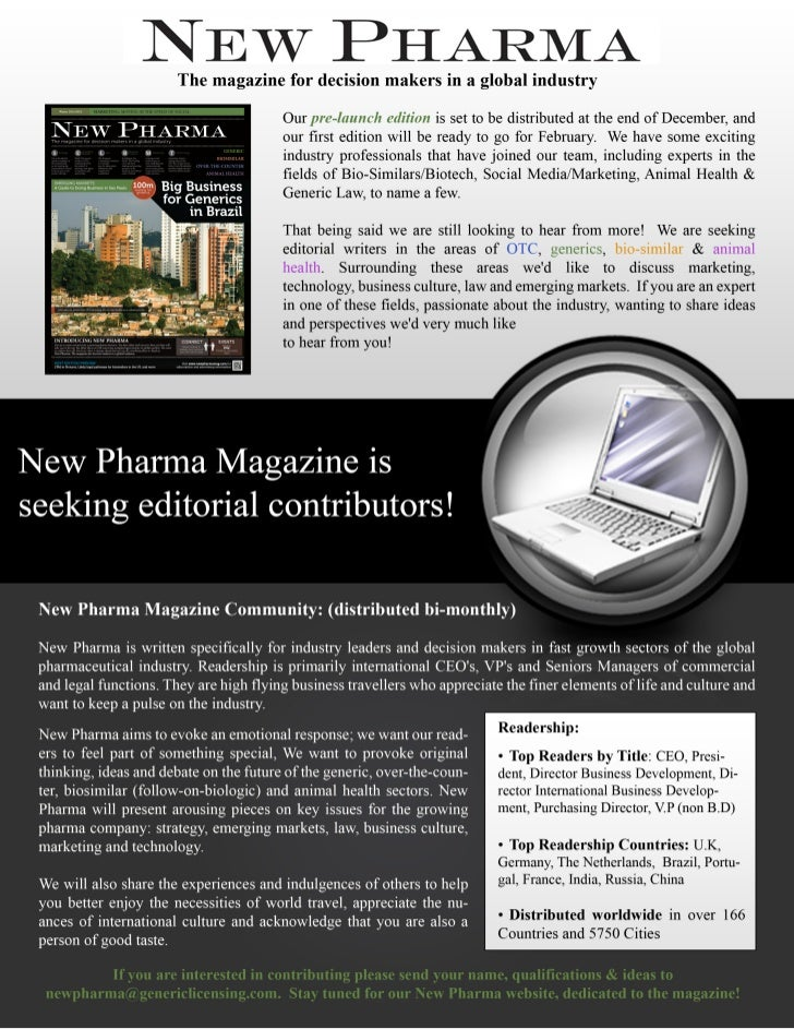 New Pharma Magazine Seeking Contributors