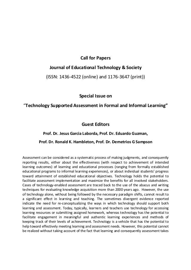 Call for Papers Journal of Educational Technology & Society (ISSN: 1436‐4522 (online) and 1176‐3647 (print))  Special Issu...