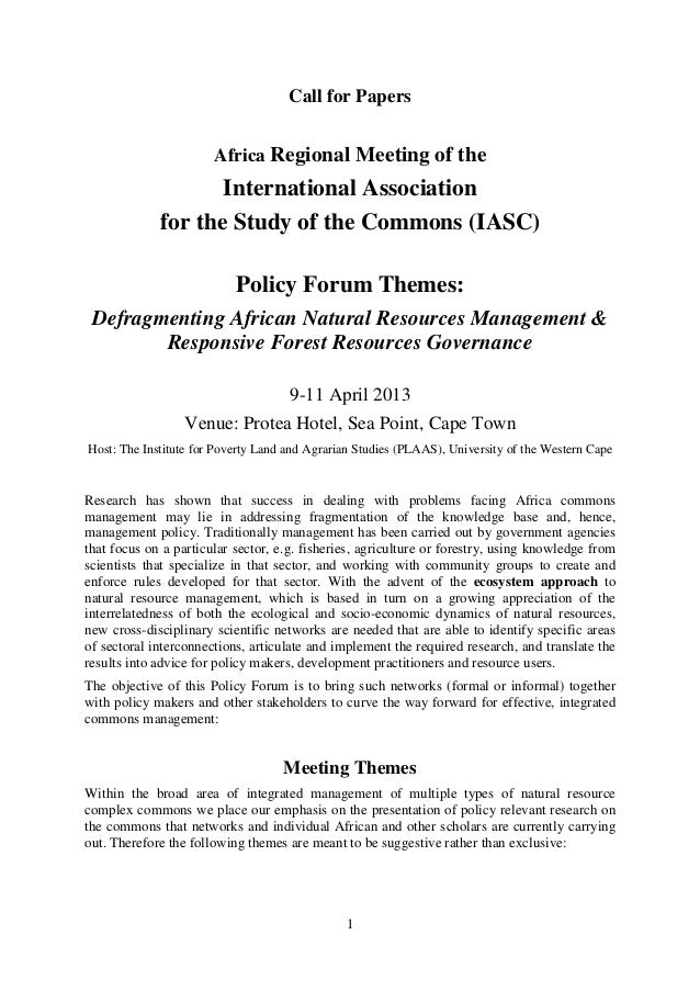 Call for Papers                       Africa Regional Meeting of the                    International Association         ...
