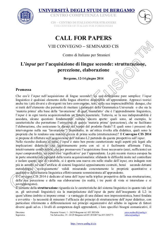 Call for papers convegno CIS 2014