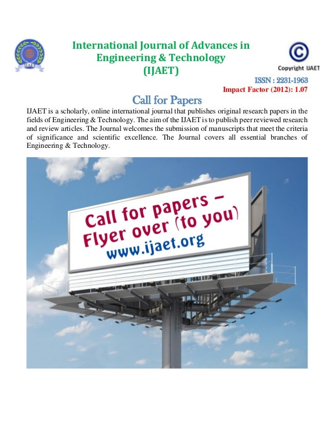 Call for papers Engineering Journal Platform