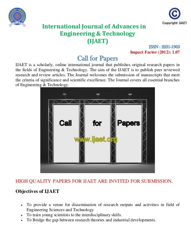 Call for papers ijaet