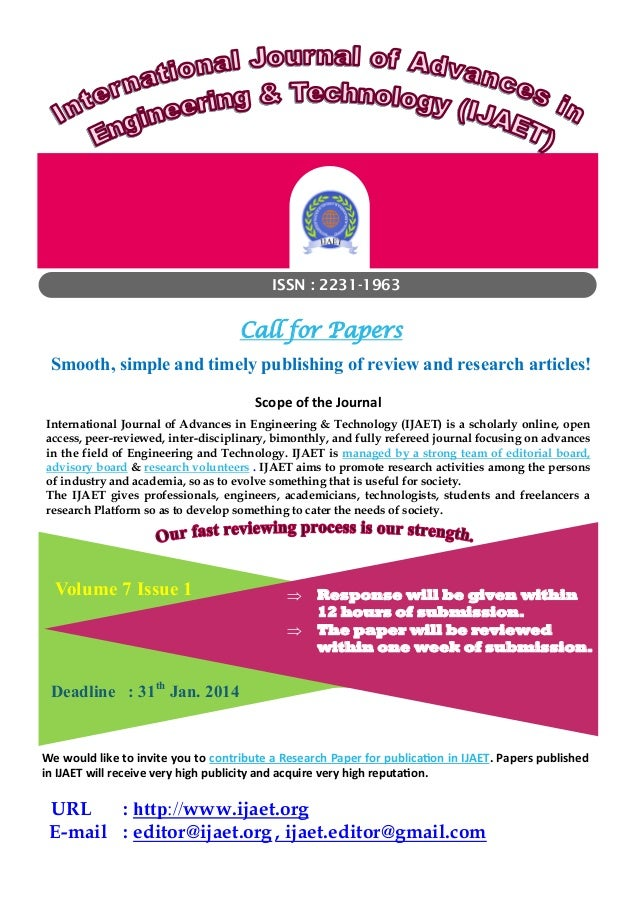 ISSN : 2231-1963  Call for Papers  Smooth, simple and timely publishing of review and research articles! Scope of the Jour...