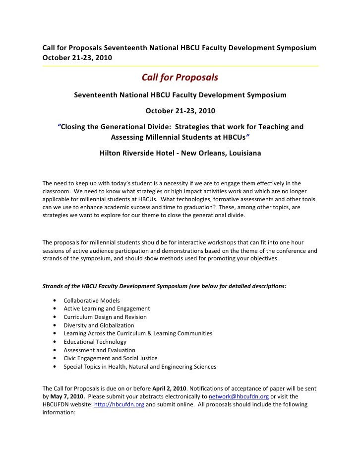 Call For Proposals Seventeenth National Hbcu Faculty Development Symposium October 21 23 2010