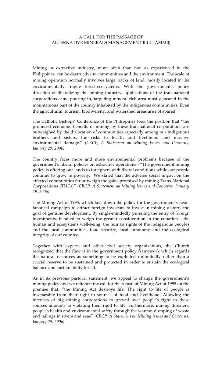 A CALL FOR THE PASSAGE OF          ALTERNATIVE MINERALS MANAGEMENT BILL (AMMB)Mining or extractive industry, more often th...
