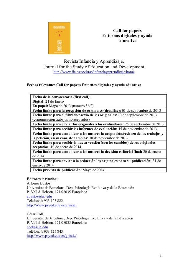 Call For papers Entornos digitales y ayuda educativa