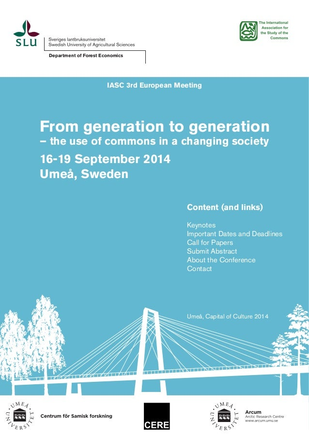 Department of Forest Economics  IASC 3rd European Meeting  From generation to generation – the use of commons in a changin...