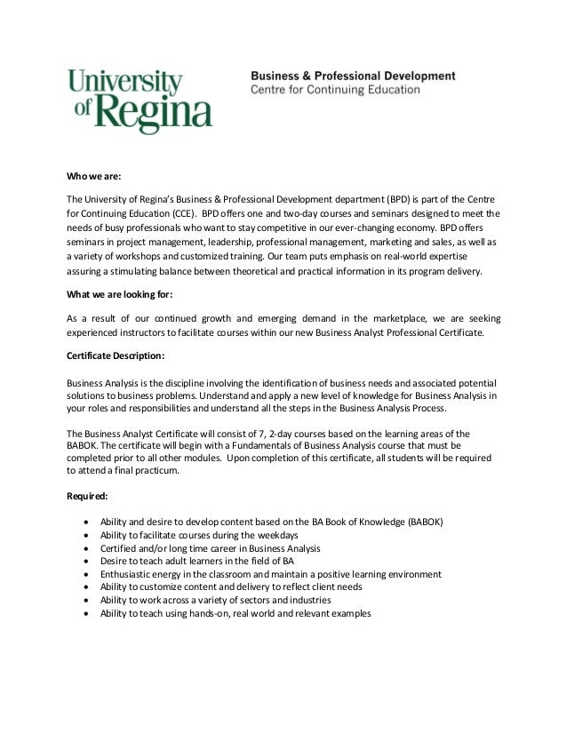 Who we are:The University of Regina's Business & Professional Development department (BPD) is part of the Centrefor Contin...