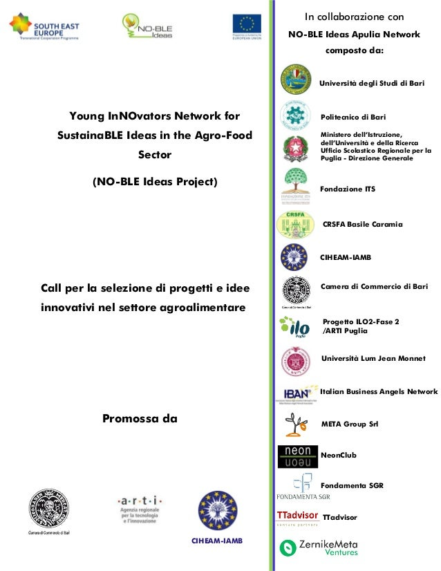 Young InNOvators Network forSustainaBLE Ideas in the Agro-FoodSector(NO-BLE Ideas Project)Call per la selezione di progett...