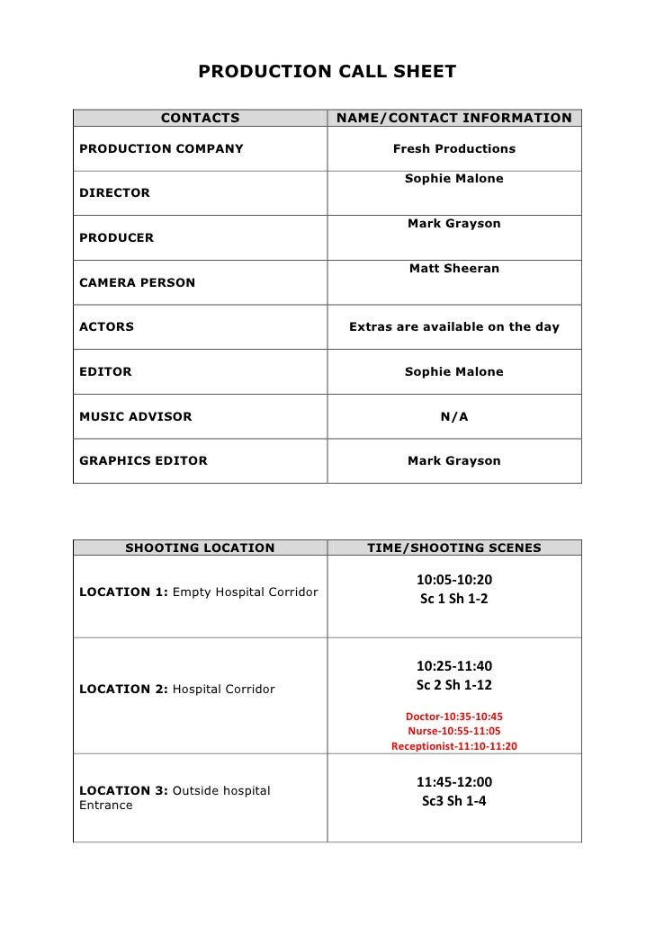 PRODUCTION CALL SHEET            CONTACTS                  NAME/CONTACT INFORMATIONPRODUCTION COMPANY                     ...