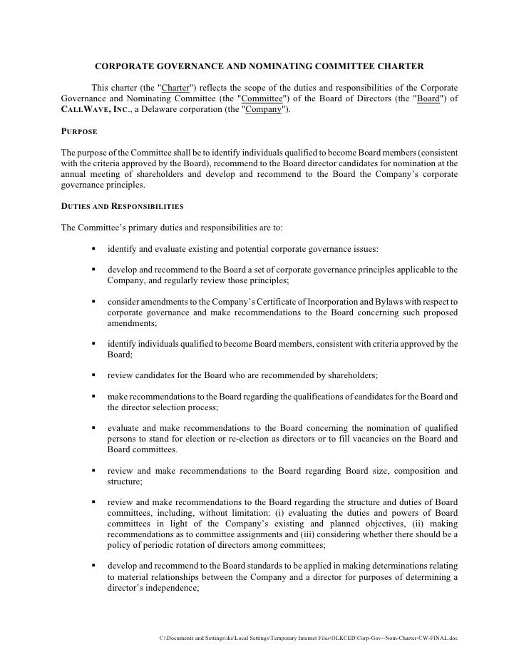 CORPORATE GOVERNANCE AND NOMINATING COMMITTEE CHARTER         This charter (the quot;Charterquot;) reflects the scope of t...