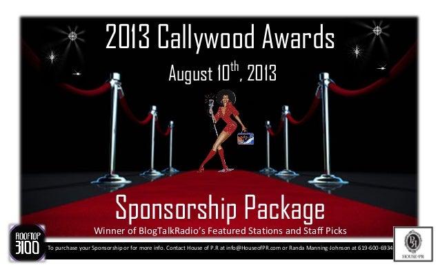 Callywood awards sponsorship package