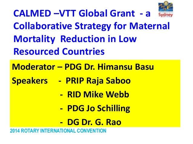 CALMED VTT Global Grant: Maternal Mortality Reduction