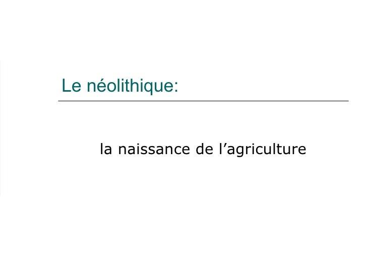 Le néolithique: la naissance de l'agriculture